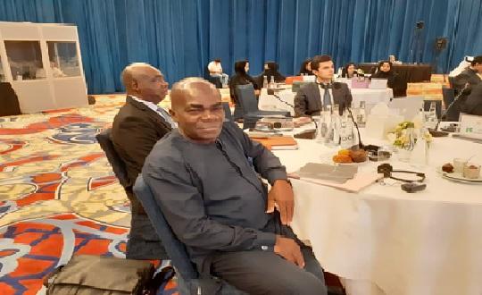Photographie de la délégation togolaise : 1er plan Dr SITTI; en arrière-plan Professeur BOYODE